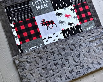 Buffalo Check Minky Baby Blanket Buffalo Plaid Blanket Faux Quilt Little Man Toddler Blanket Twin Blanket