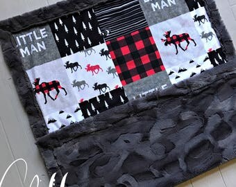 Buffalo Check Minky Baby Blanket Buffalo Plaid Blanket Faux Quilt Little Man Toddler Blanket Twin Blanket