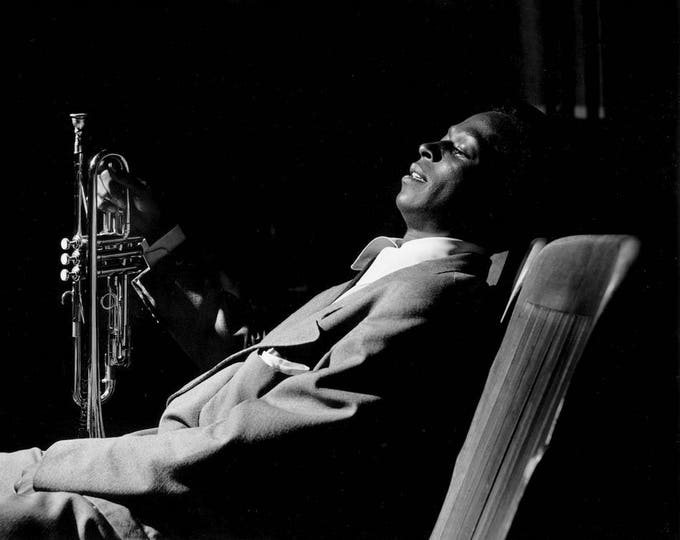 """Miles Davis Backstage at """"Just Jazz"""" Concert in Los Angeles, Circa 1950 - 5X7 or 8X10 Photo (ZZ-817)"""