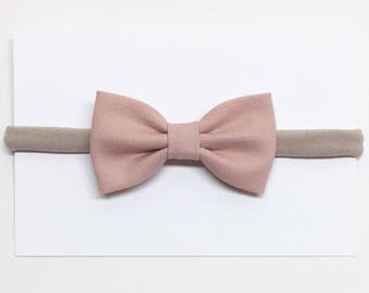 Baby Hair Bows - Dusty Rose - Baby Hair Bows - Clips or headbands