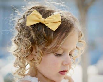 Hair Bow Clips - Mustard - hair clips - clip or headband