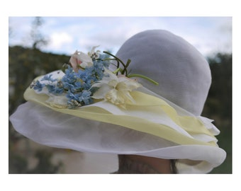 Vintage wide brimmed hat/Organza/Summer women's ceremony/Derby/Bridal/Kentucky hat/single size/one size
