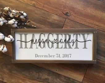 Last Name Established Sign, Last Name sign, Housewarming gift, Established Sign, Wedding Gift, Personalized Name Sign, Family Name Sign