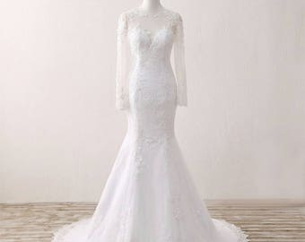 Wedding Dress/Lace Long Sleeves Mermaid Bridal Dress