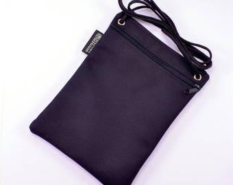 Cross body walking purse. Black waterproof nylon phone pouch. Simple zippered bag