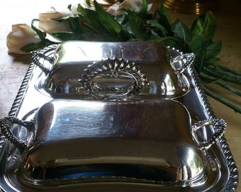 Vintage silver plated serving pieces: Lidded Silver Plated Serving Trays