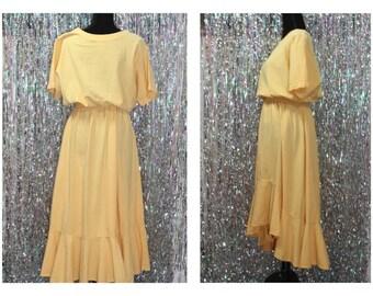 70's Renata B Yellow Cotton Flare Dress *Excellent Conditon