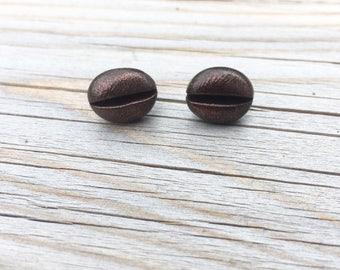 Coffee bean studs/ Coffee earrings/ Barista studs/ Barista earrings/ Clay coffee beans/ Coffee lover jewelry/ Coffee gift idea/ Food jewelry