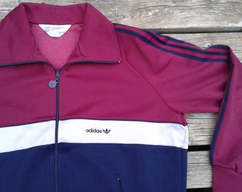 Vintage 80's Adidas Track Jacket Maroon / Blue / White Zip Up XL