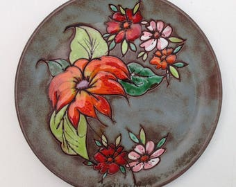 Vintage french Vallauris Ceramic Decorative Plate, Flowers Hand Painted Decor, Wall Plate. Souvenir from Provence
