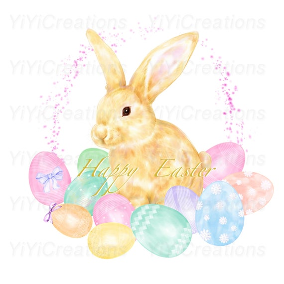 Easter Charm Clipart Spring Watercolor Bunny Painting Rabbit And Eggs Ornament Pink Blue Printable Colorful Nursery Decor PNG From
