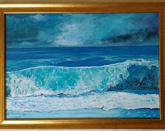 Stormy Surf Seascape Original Acrylic Painting on Canvas Framed Sky Sea Art Realism Waves  Splash