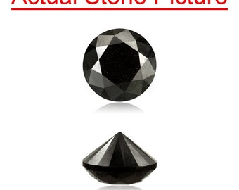 0.54 Cts of 4.84-4.88x3.26 mm GIA Certified AAA Round Modified Brilliant ( 1 pc ) Loose Un-Treated Fancy Black Diamond