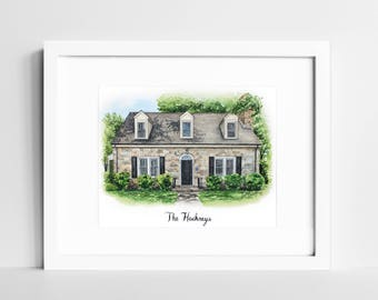House Portrait Watercolor | Custom Home Painting | Our First Home | Personalized Housewarming Gift  | New Home Gift | Gift for Parents