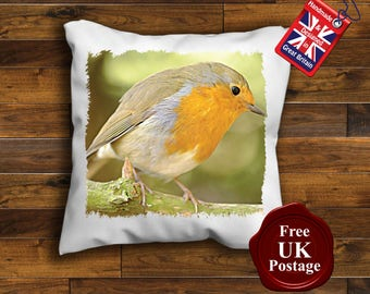 Robin Redbreast Cushion Cover, Robin Redbreast, Cushion Cover, Handmade & Printed By Us