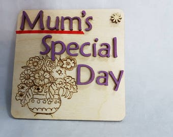 Handcrafted pyrographics vase of flowers with lovely words mum's special day on A birchwood plaque A unquie gift flowers that last forever