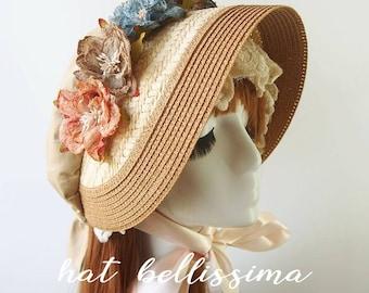 SALE Khaki  Women's straw bonnet  hatbellissima Hats with a Brooch