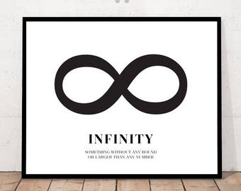 Infinity poster, infinity download, digital infinity, infinity print, infinity art, infinity decor, black and white, infinity love
