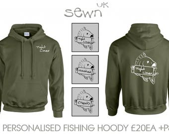 Personalised Fishing Hoody - Perfect for Fishing Trips, day excursions, Father's day gift or special occasion