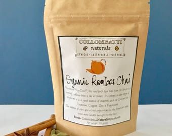 Healthy Organic Sugar Free Loose Leaf Rooibos Honey Red Bush Chai - Collombatti Naturals - Mothers Day - Birthday - Tea