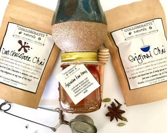 Chai Gift Set - 2 x Australian Loose Leaf Black Tea with Stoneware Hug Mug - Raw Honey - Stoneware Cup & Tea ball - Mothers Day - Birthday