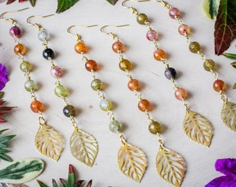 Autumn Leaf Dangly Earrings with Fire Agate Beads, Gold Plated //Bohemian, Boho, Gypsy, Gypset, Fall, Jewelry, Jewellery