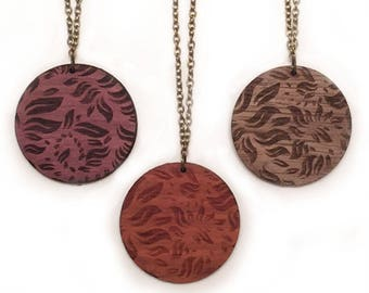 Floral Laser Engraved Wood Necklace