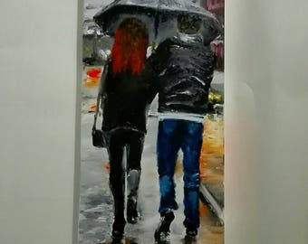 A pair of paintings in the big city finger painting