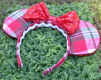 Very Merry Minnie Inspired Ears with Red Sequin Bow
