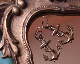 Golden Anchor Drop Earrings
