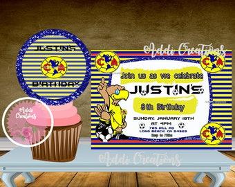 Club America Invitations, Americanita Invitations, Invitaciones Club America, Cupcake Toppers