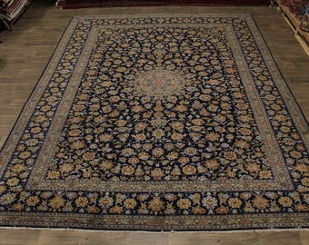 Fascinating Hand Knotted Navy Kashan Persian Rug Oriental Area Carpet 10X13