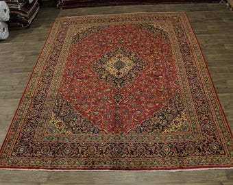 Gold-Washed S Antique Handmade Kashan Persian Rug Oriental Area Carpet 9'8X12'5