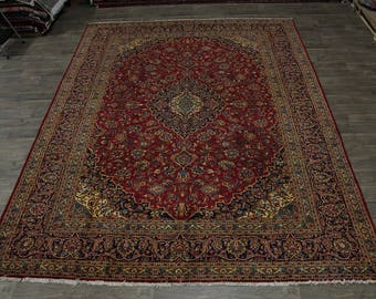 Beautiful S Antique Handmade Kashan Persian Wool Rug Oriental Area Carpet 10X13
