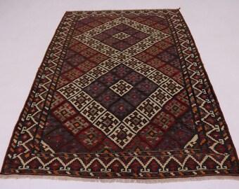 Striking Pattern Nomad Vintage Gelim Kelim Persian Rug Oriental Area Carpet 5X8