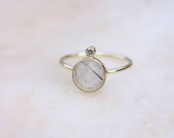 Round rutilated Quartz with moissanite – 14 ct gold & Silver