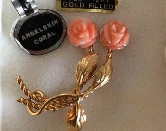 Vintage Carved Angelskin Coral and 12k Gold Filled Brooch- Coral Flower Gold Filled Pin