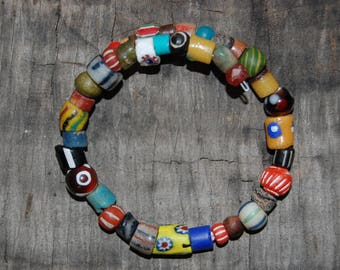 mixed trade bead bracelet