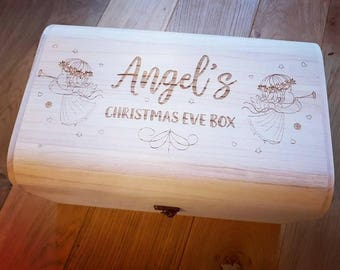Personalised Luxury Wooden Christmas Eve Box - Engraved Angel Design.