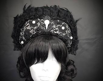 Gothic Ravenskull Kokoshnik in black & white Frenchhood with Raven skull and feather trim
