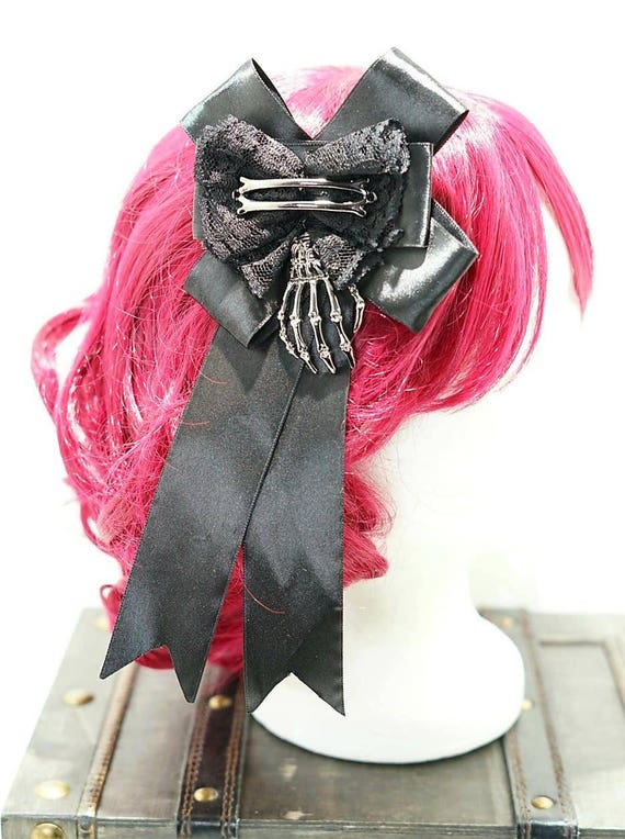 Skeleton bones right side hand black bronze bow hairpin brooch / black bow with silver skeleton hand hair clip and brooch