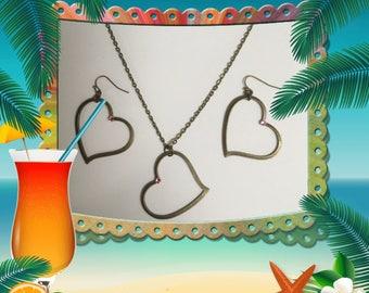 Brass Open Heart Necklace & Earrings