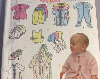 9380 Simplicity Infants Layette Pattern with 10 Pieces Sizes Newborn - 18 months
