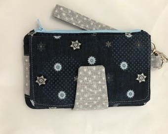 Pearl Clutch Wallet, Stylish, Cell Phone Wallet, On The Go Wallet, Unique Gift,  Icy Winter, Silver Snowflakes and Blooms