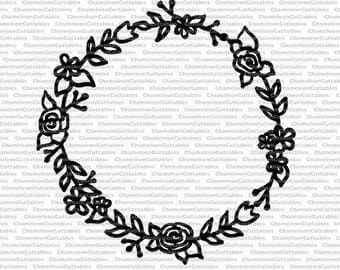 hand drawn floral wreath, SVG file, circle, monogram, silhouette, vector, design, flowers, leaves, monogrammed, drawing, flourishes, laurel