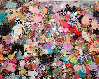 DYI Bling Resin Flatbacks Random Mixed Lots Scrapbooking Cabochons 2 Cell Phone Deco Kits Kawaii Charms 100+ Pieces + Rhinestones & Pearls