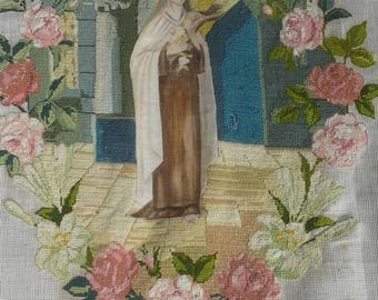 "Vintage 1930's  French Religious Needlework Picture ""St Theresa"""