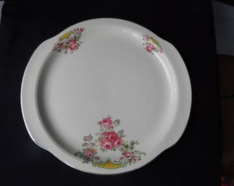 Vintage 1934-1955 Universal Cambridge Camwood Ivory pattern Rambler Rose Pink Roses Serving Platter  1382