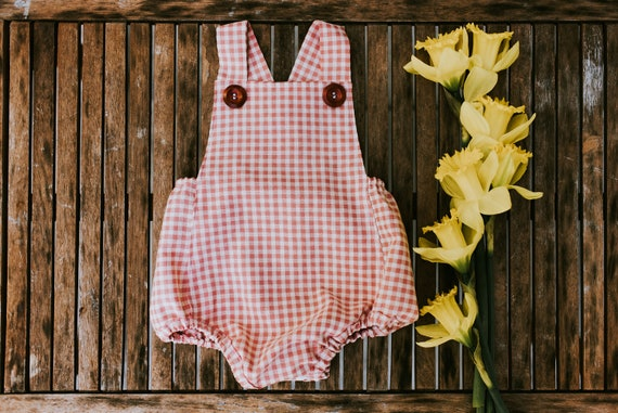 Bunny Nose Pink Gingham Romper, Easter Romper, Easter Outfit, Vintage Inspired Romper, Bubble Romper, Baby Girl Romper, Retro Baby Romper