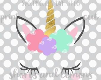 Etsy's most popular Unicorn svg, Unicorn face svg, Gold horn unicorn, Unicorn eyelashes, SVG, DXF, unicorn svg